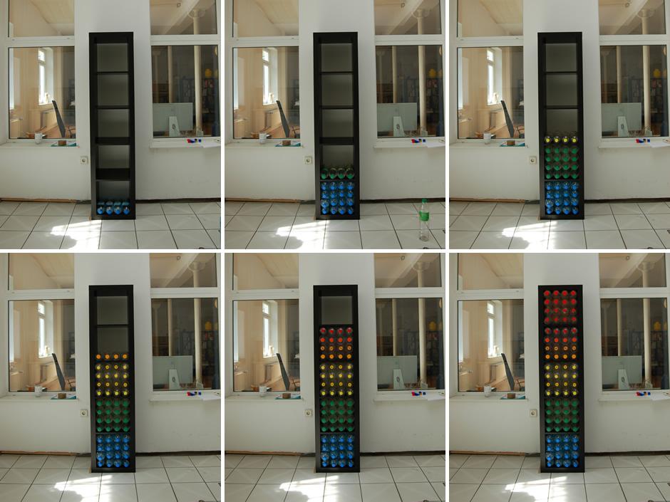 Fotos vom Aufbau des Pfandflaschen-Equalizers