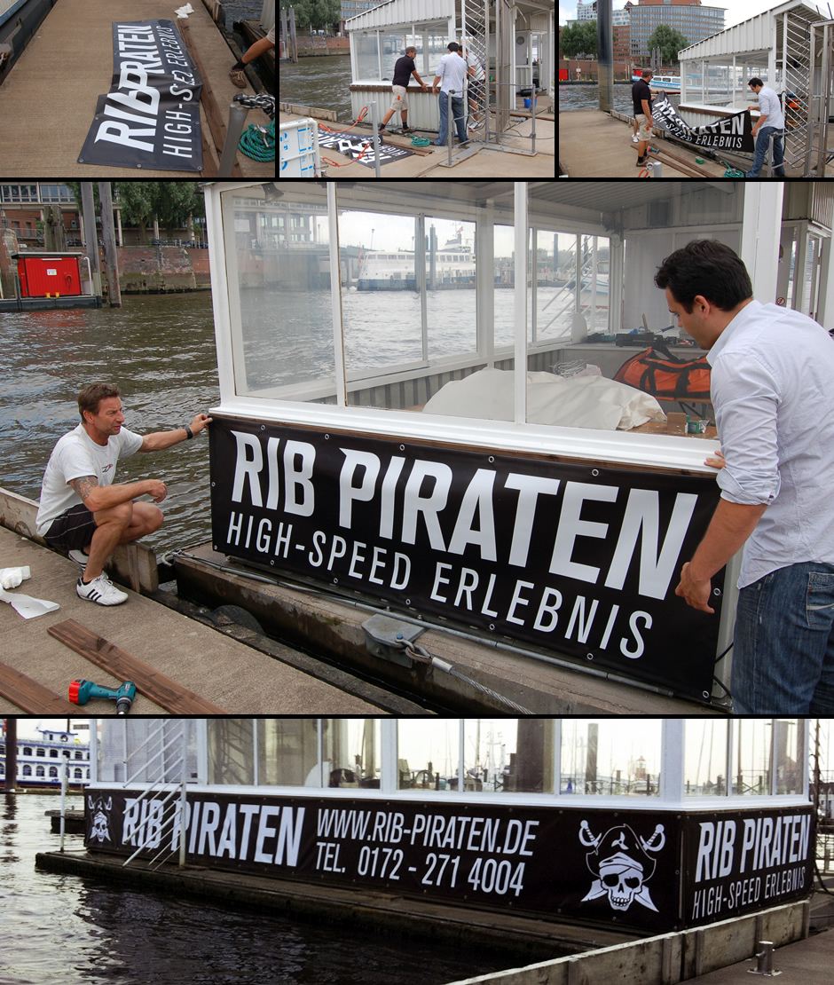 Montage der Banner am RIB Piraten Anleger im Hamburger Hafen