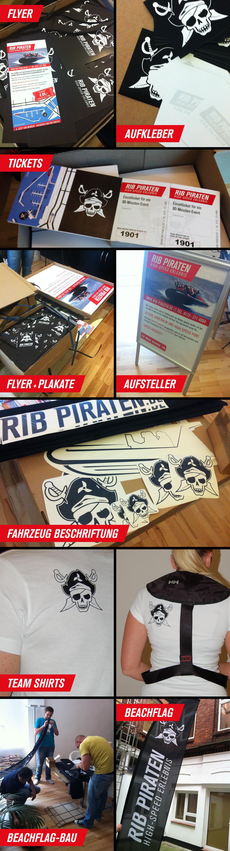 Eine ganze Menge Print-Kram für die RIB Piraten
