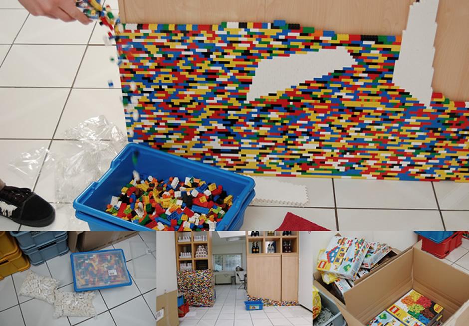 Legowand und Legosteine