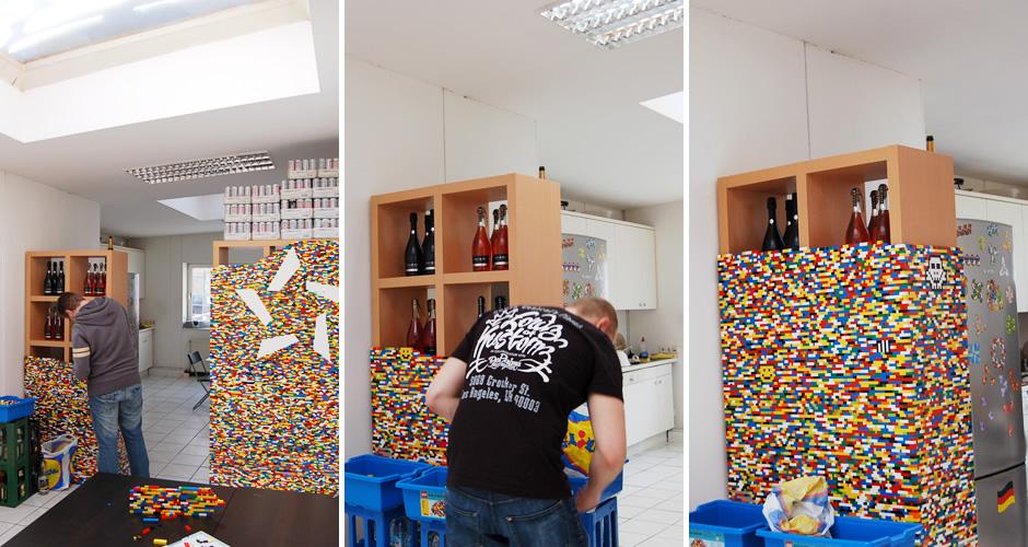 Aktueller Fortschritt beim Bau der Legowand
