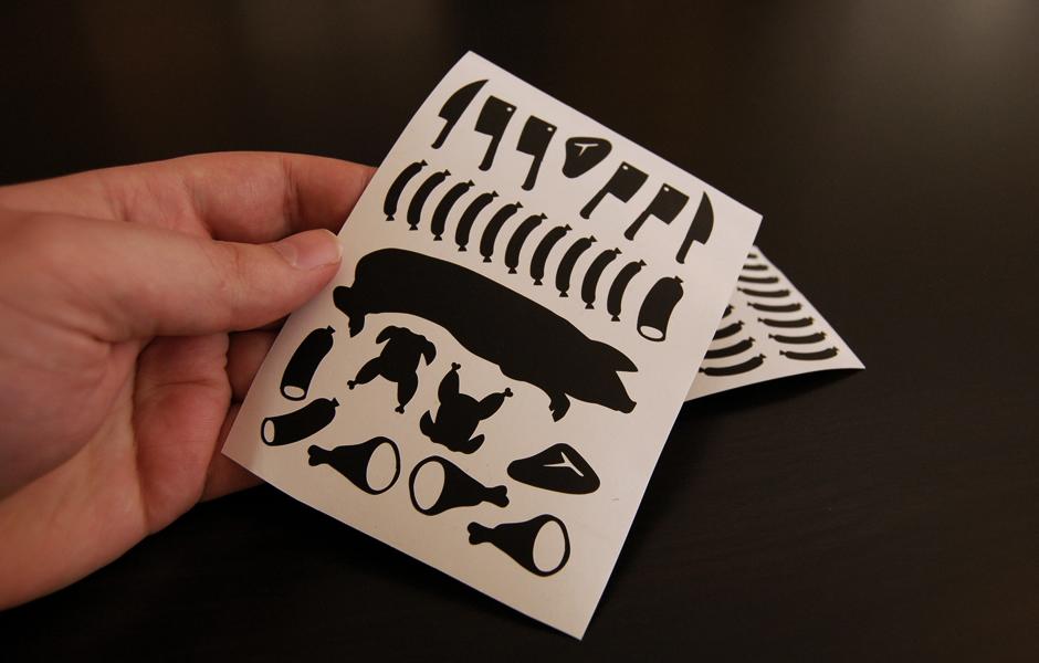 Fleischige Sticker