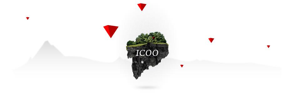 ICOO's kleiner schwebender Fels mit Bäumen